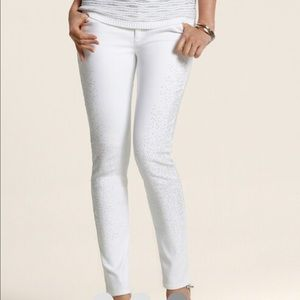 CHICO's Scattered Studded Silver on white denim 00